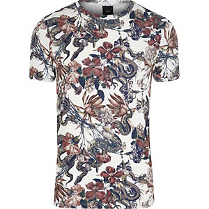 Big and Tall - Wit T-shirt met slangenprint en ronde hals