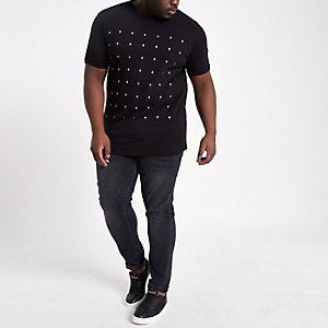 Big and Tall black skull studded T-shirt