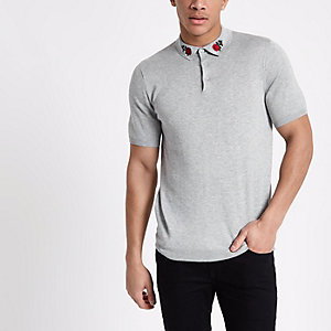 Grey knit rose embroidered slim polo shirt
