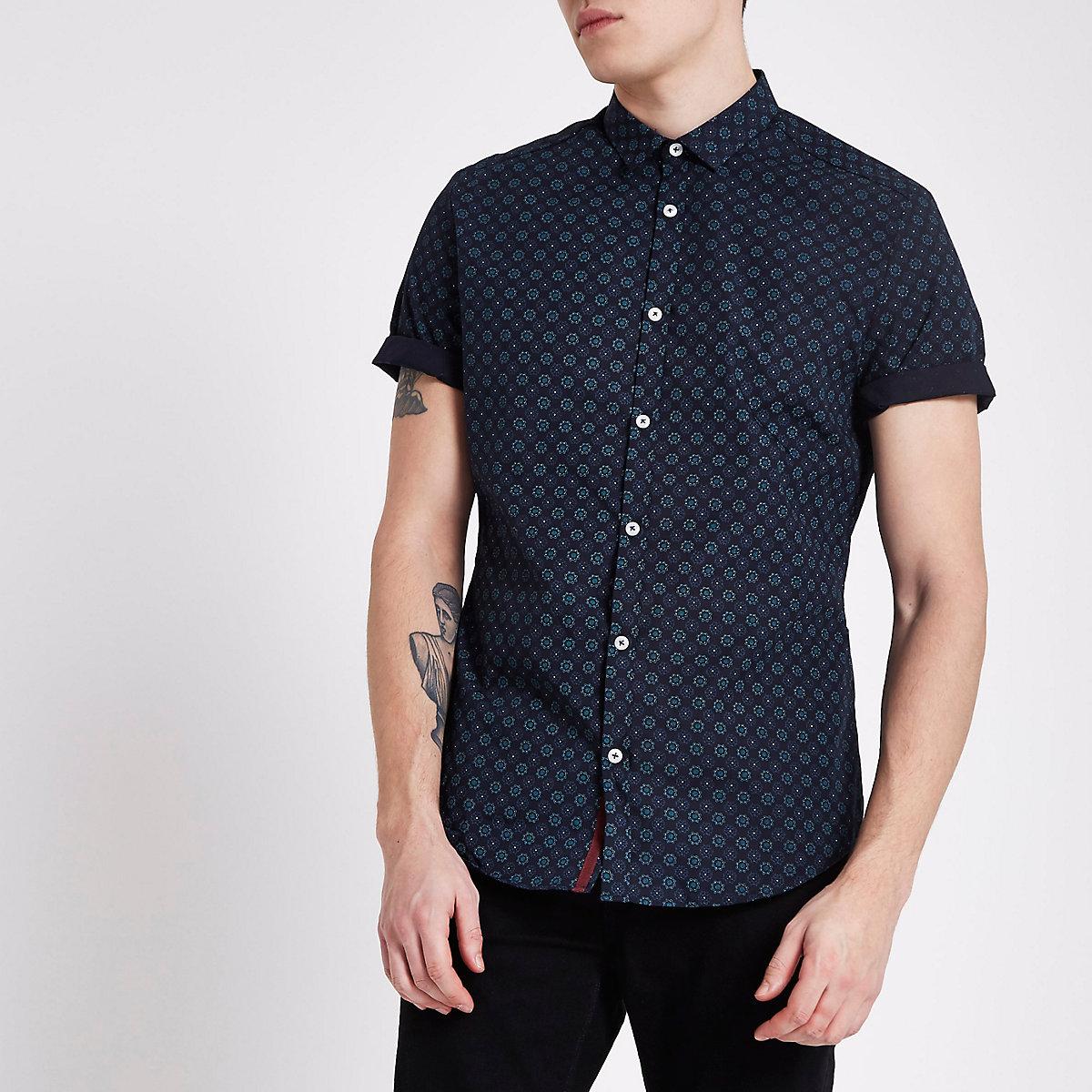 Navy tile print slim fit short sleeve shirt