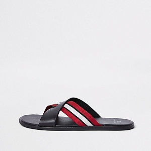 Black stripe cross over flip flops