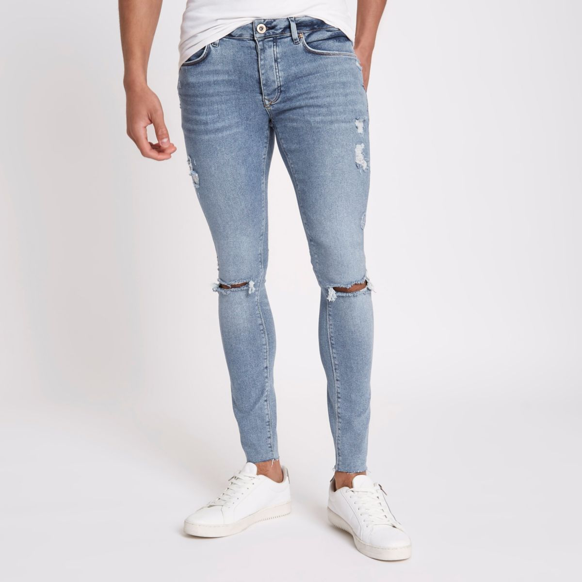 Danny - Jean super skinny bleu moyen à zips aux chevillesRiver Island 0HgMdSf