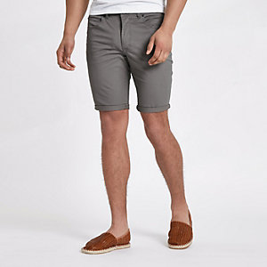 Graue Skinny Chino-Shorts