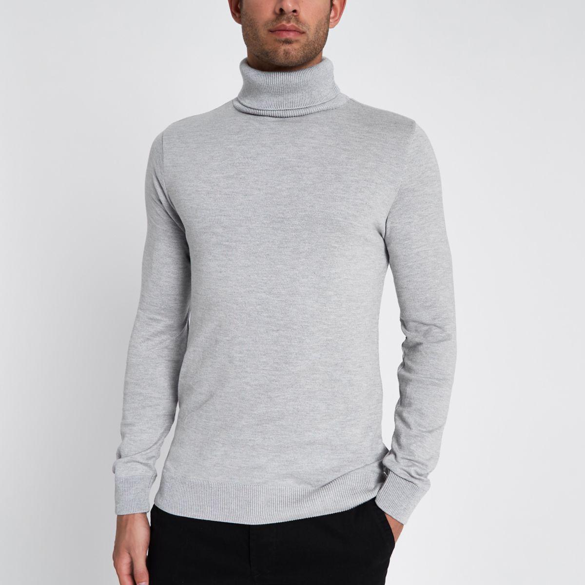 Grey slim fit roll neck jumper