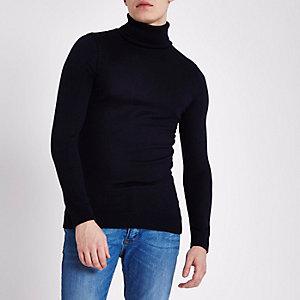 Marineblauwe slim-fit pullover met rolkraag
