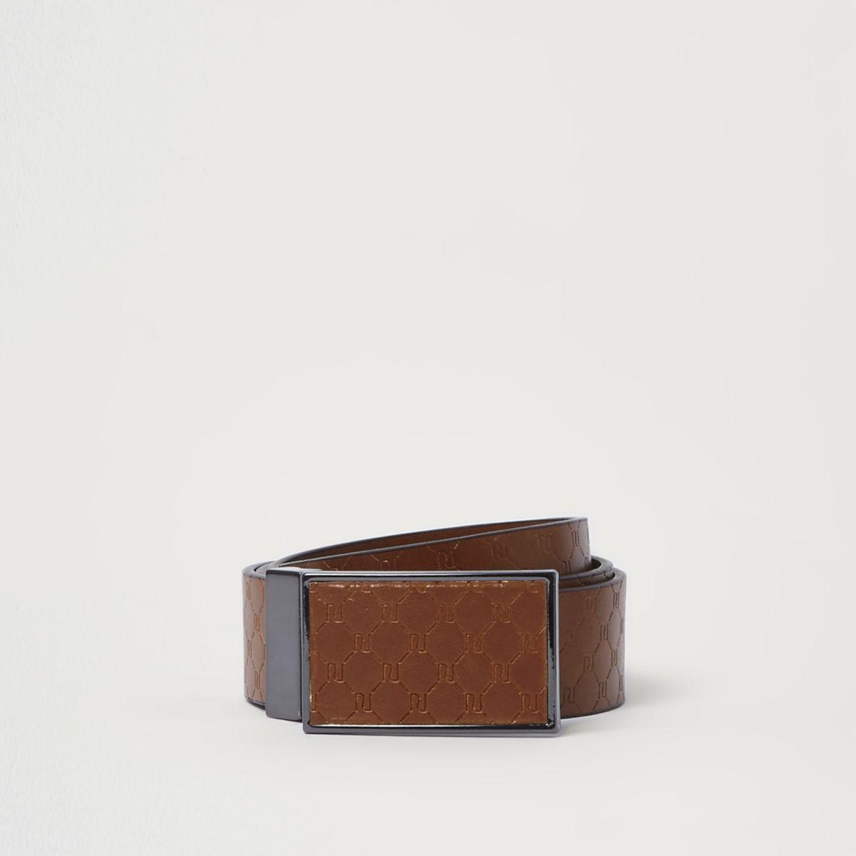 Tan RI monogram plate buckle belt