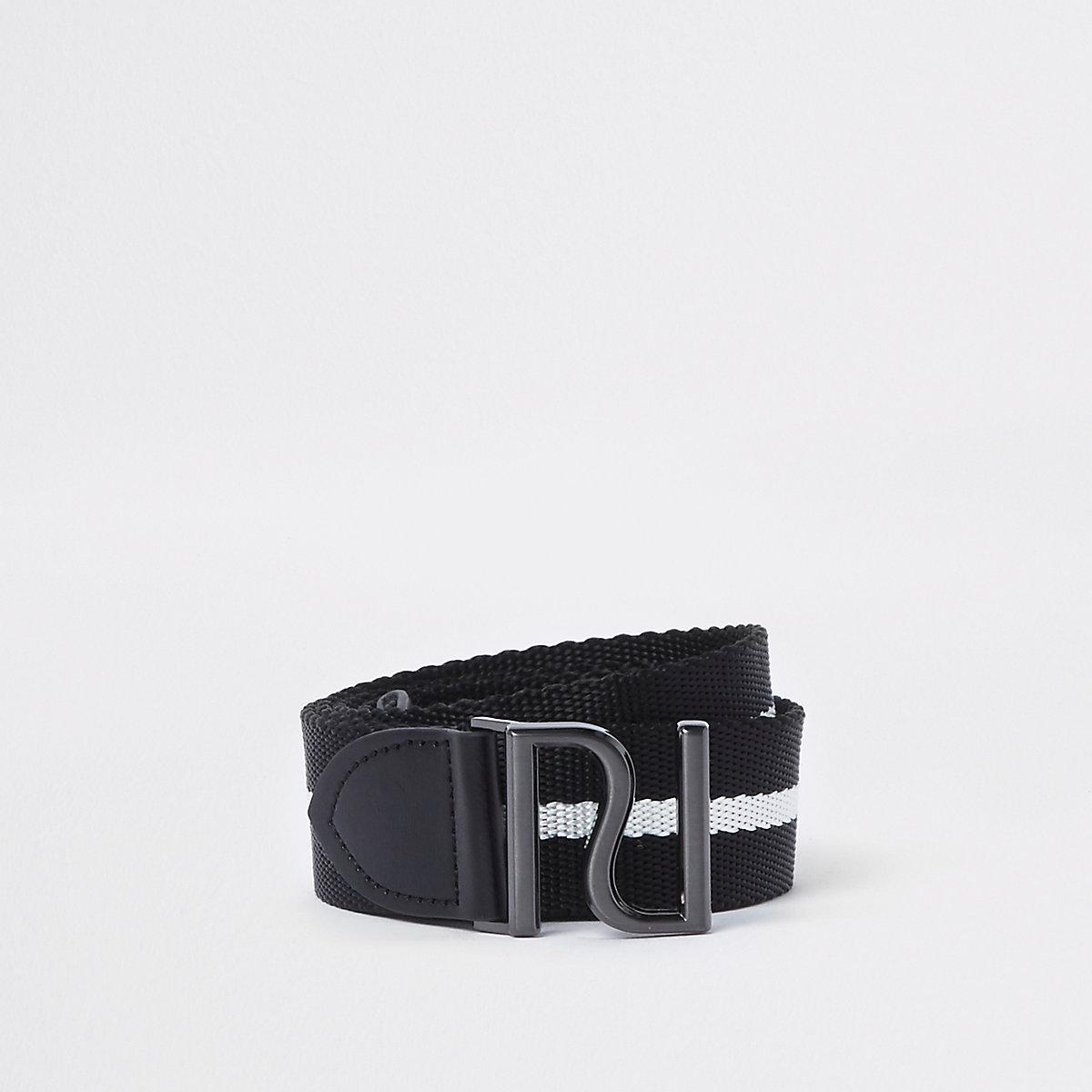 Black woven stripe RI buckle belt