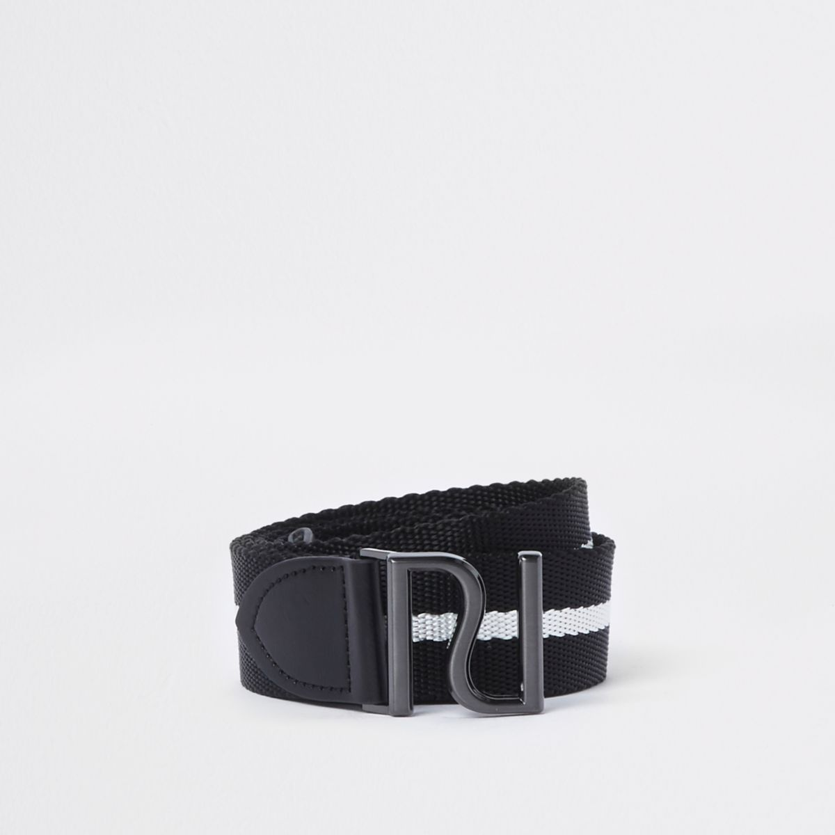 Black woven stripe RI buckle belt