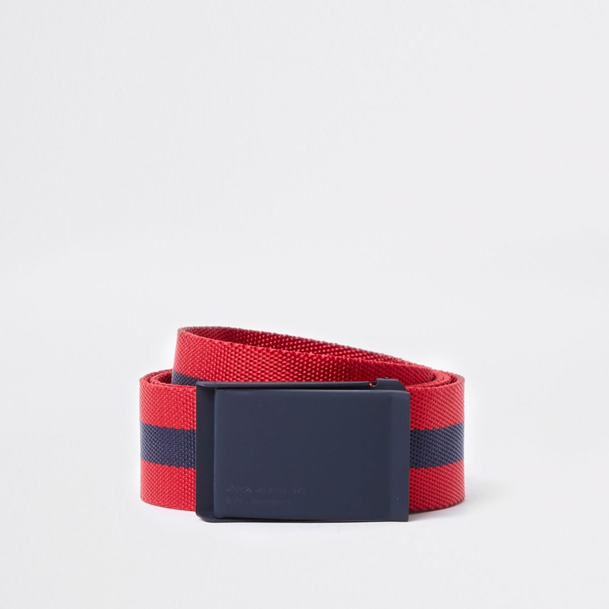 Red and navy stripe buckle belt