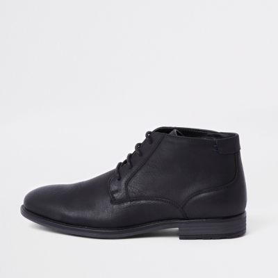 Black Lace Up Chukka Boot by River Island