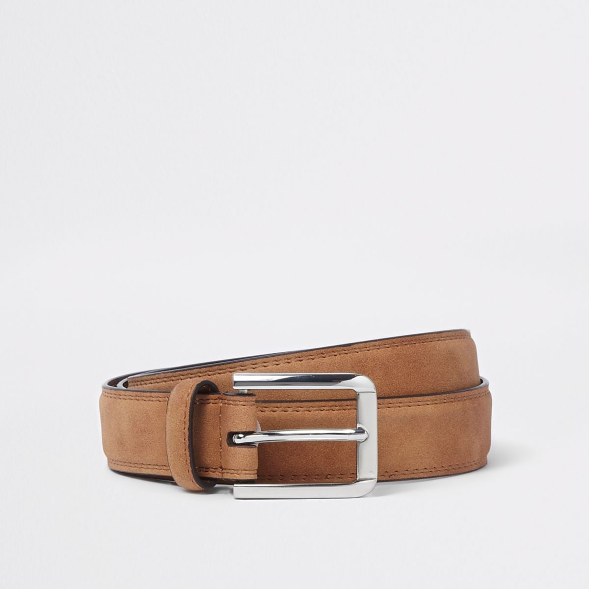 Brown suedette buckle belt