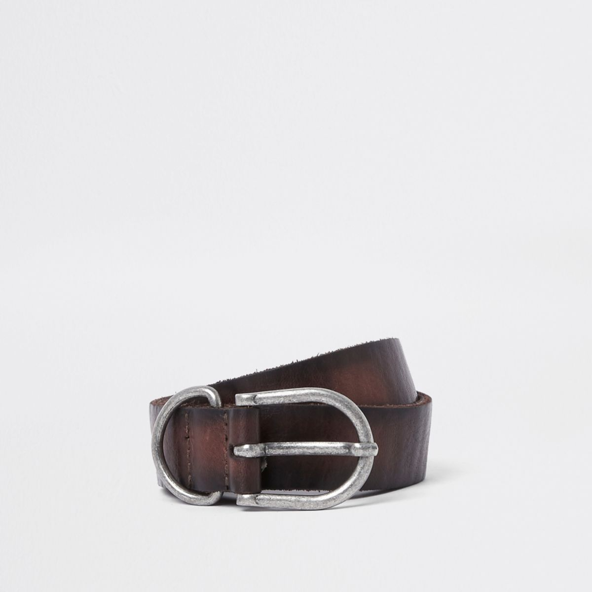 Brown leather silver tone buckle belt