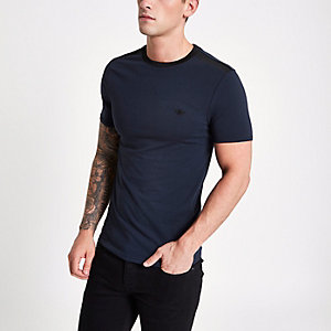 T-shirt ajusté motif ondulations bleu marine