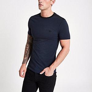 Marineblauw gerimpeld aansluitend T-shirt