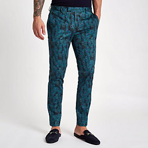 Pantalon habillé skinny imprimé paons noir