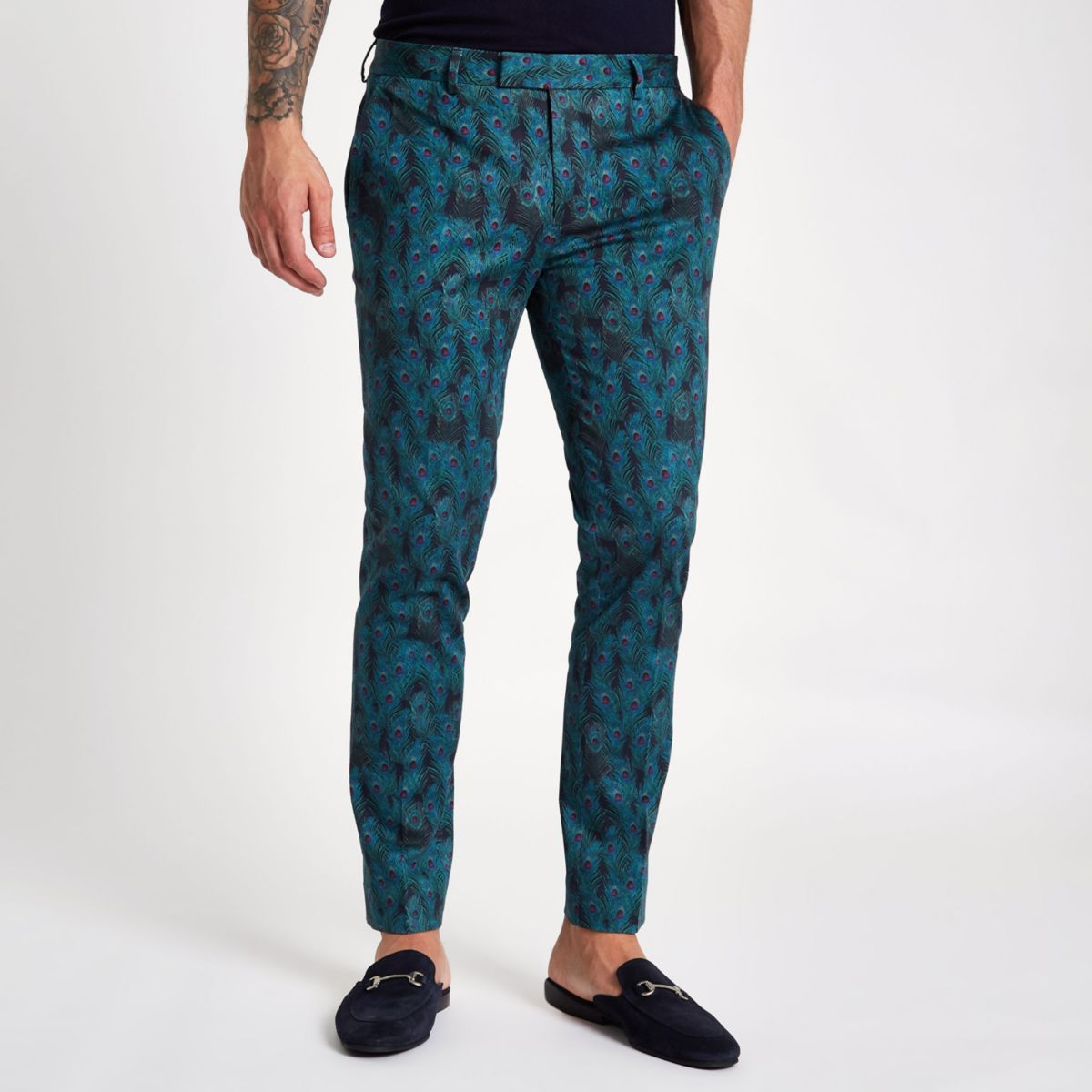 Black peacock print super skinny trousers