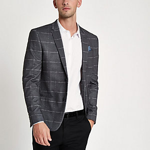 Blazer skinny en jersey à gros carreaux gris
