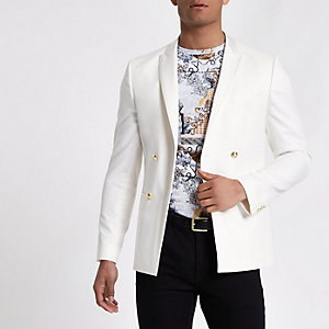 White double breasted skinny suit jacket