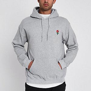 Grijze gemêleerde hoodie met rozenprint