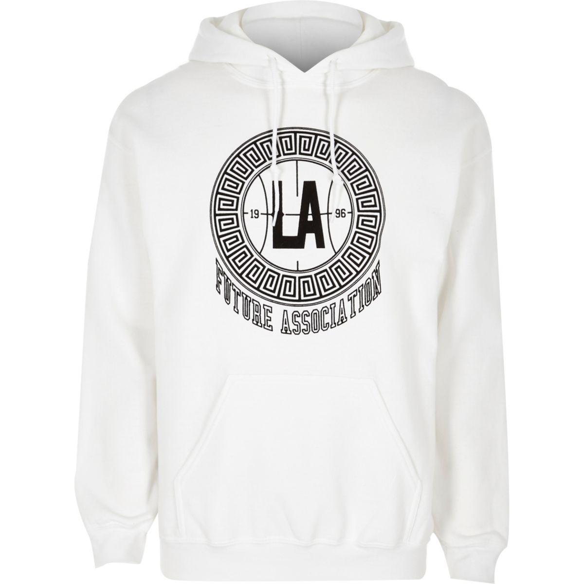 White 'LA' flocked print hoodie