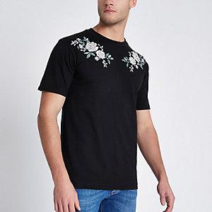 Zwart geborduurd slim-fit T-shirt met rozenprint