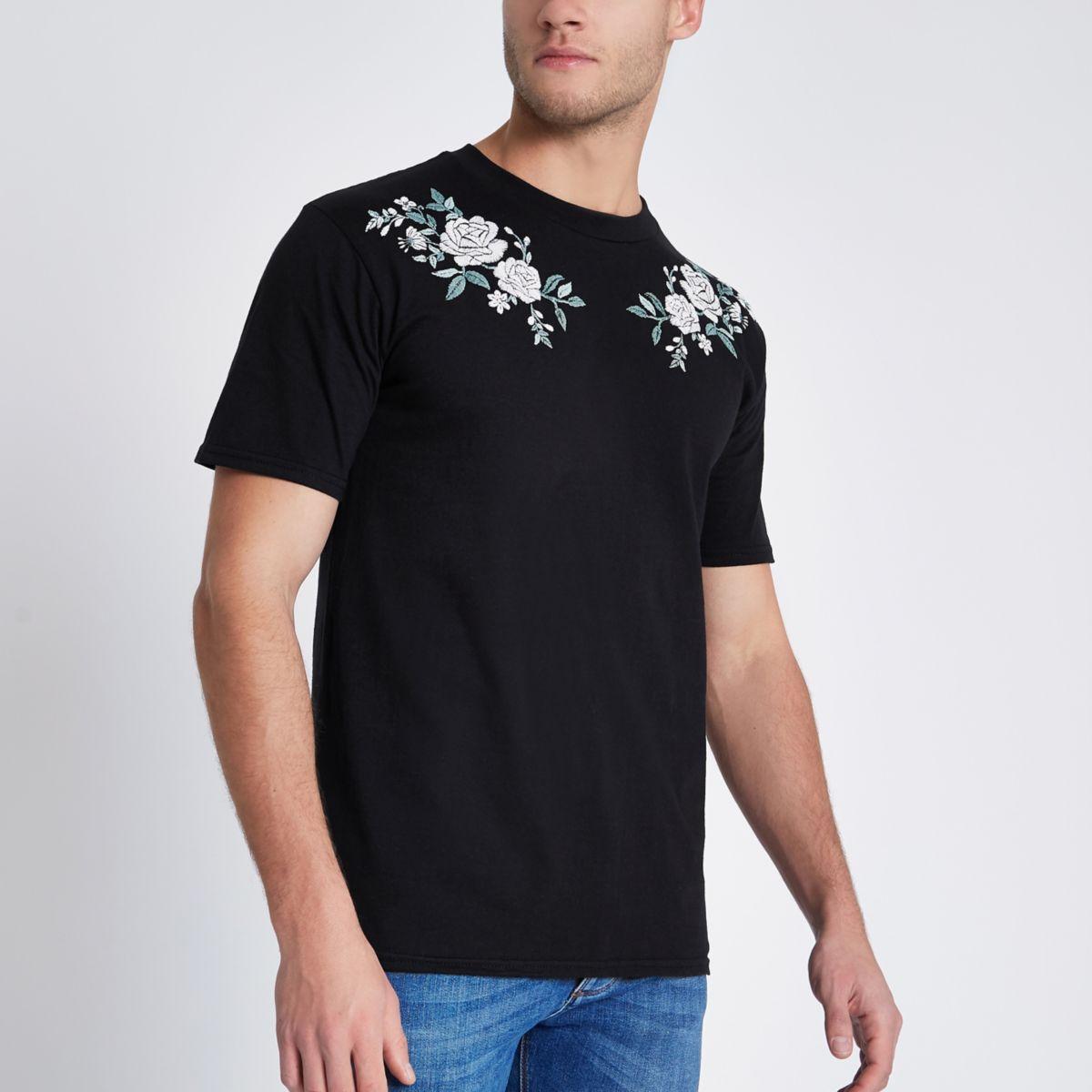 Schwarzes Slim Fit T-Shirt mit Rosenstickerei