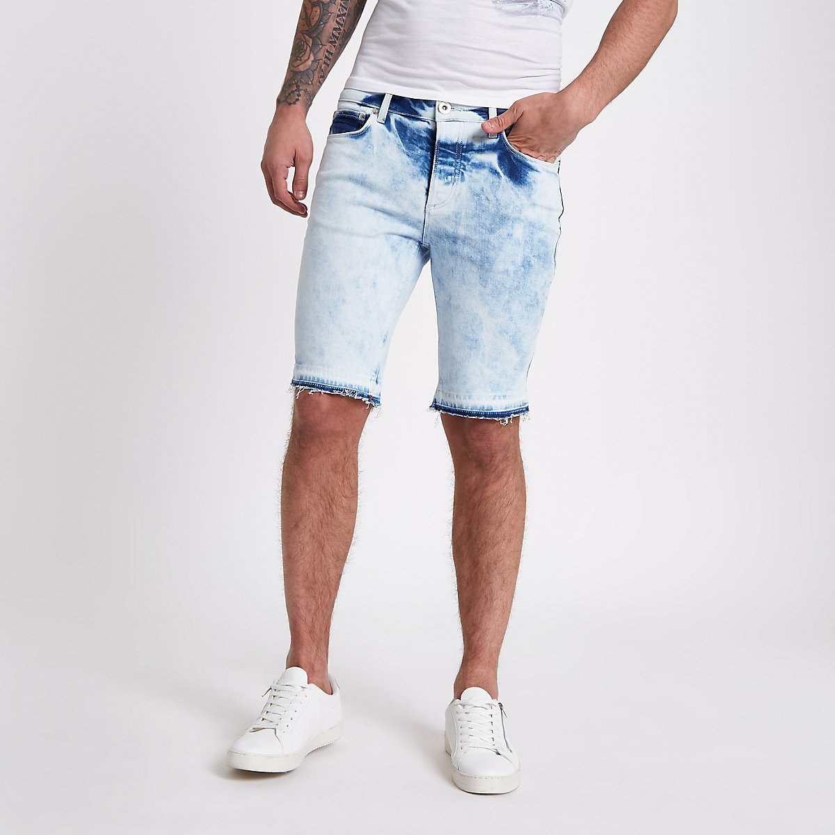 Blue acid wash skinny fit denim shorts