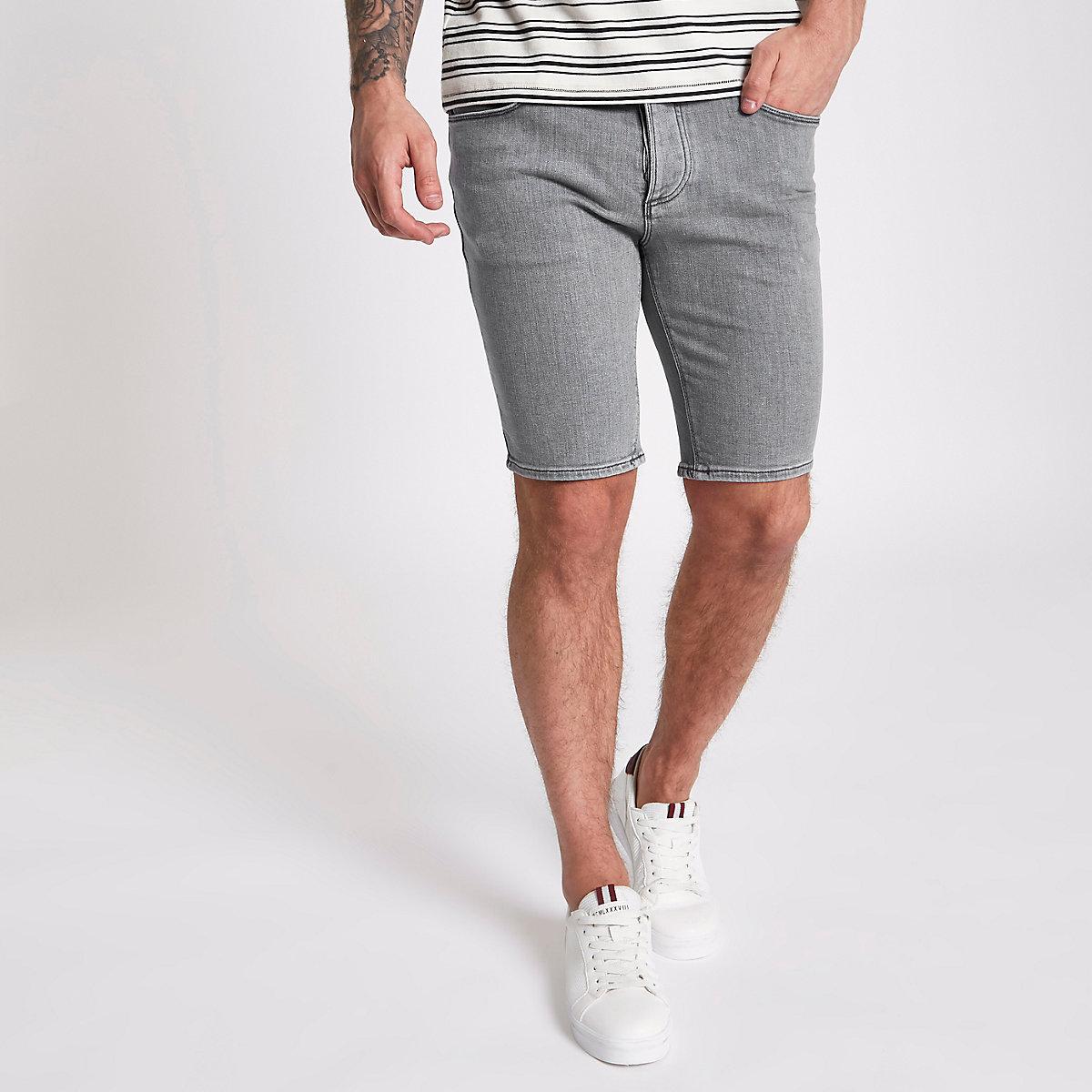 Smokey grey skinny denim shorts