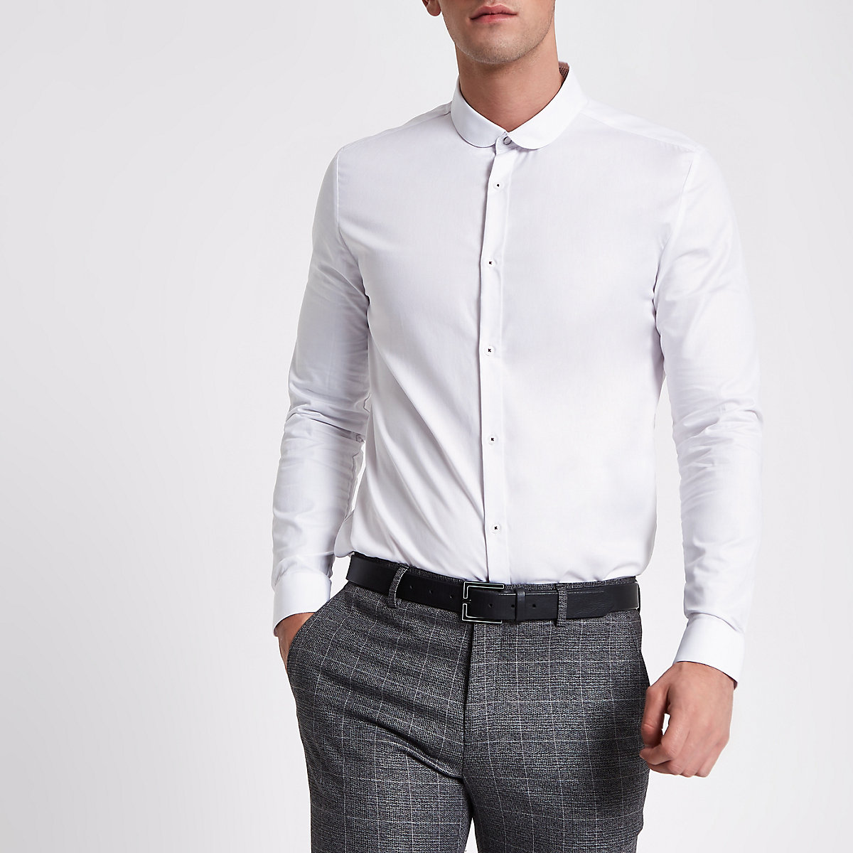 White slim fit textured long sleeve shirt