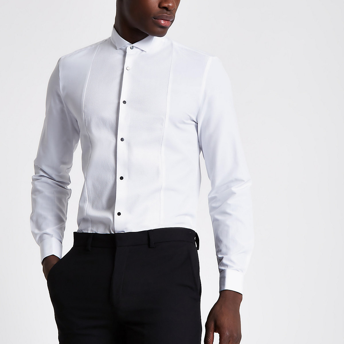 White textured panel slim fit shirt