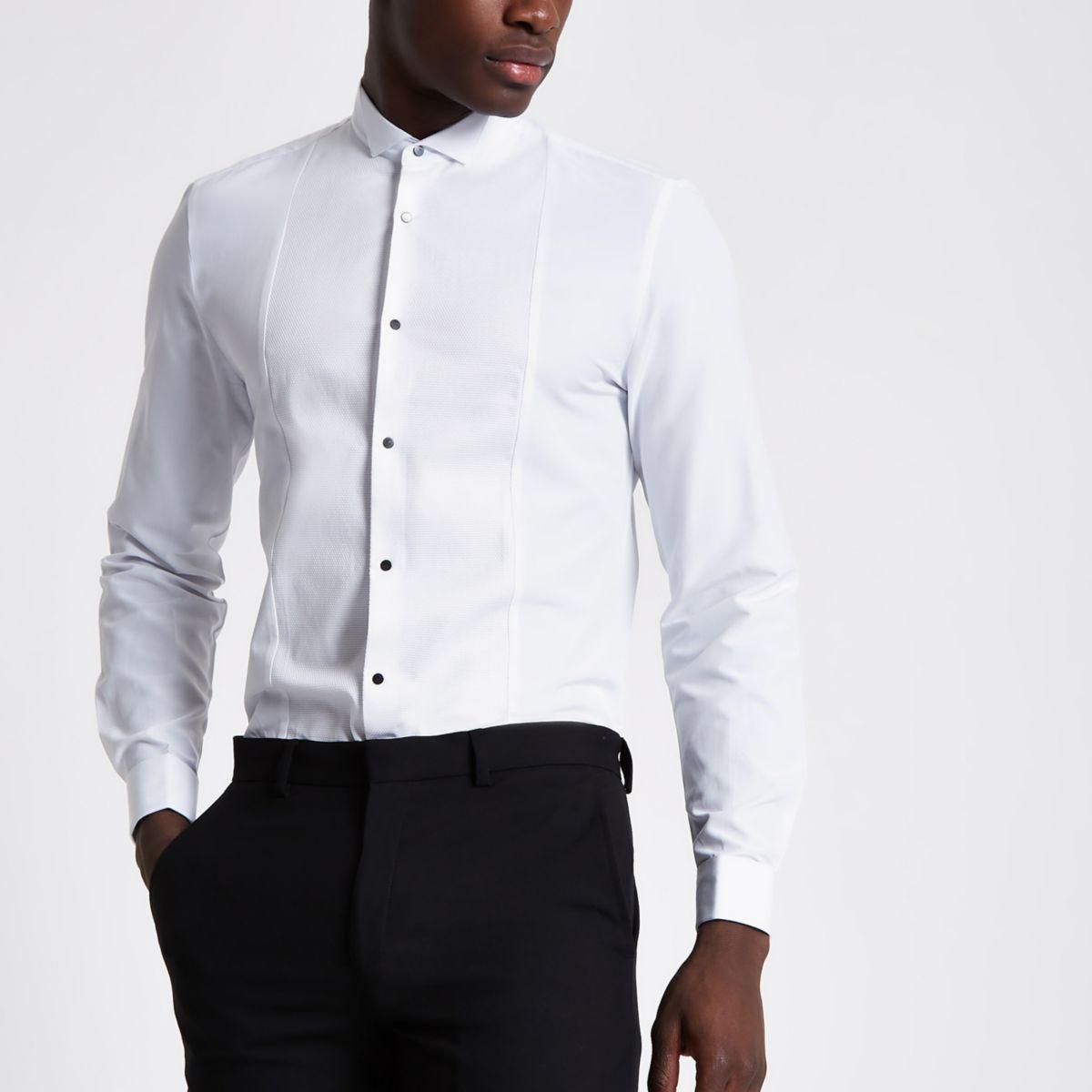 White textured panel slim fit shirt