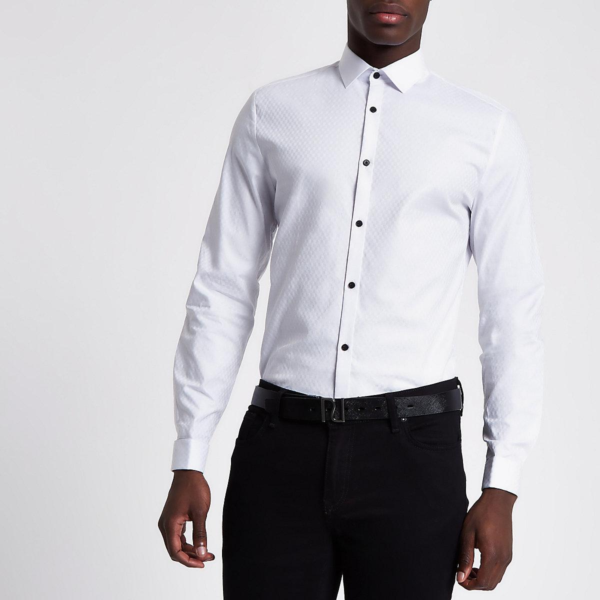 Slim Fit Wit Overhemd.Wit Jacquard Slim Fit Overhemd Overhemden Met Lange Mouwen