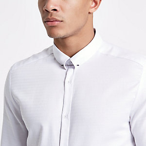 White jacquard metal bar collar shirt
