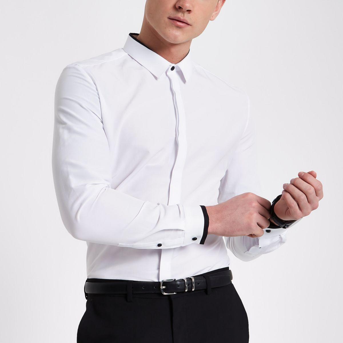 White mono long sleeve slim fit shirt