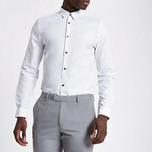 Weißes, langärmliges Jacquard-Hemd mit Karos in Slim Fit