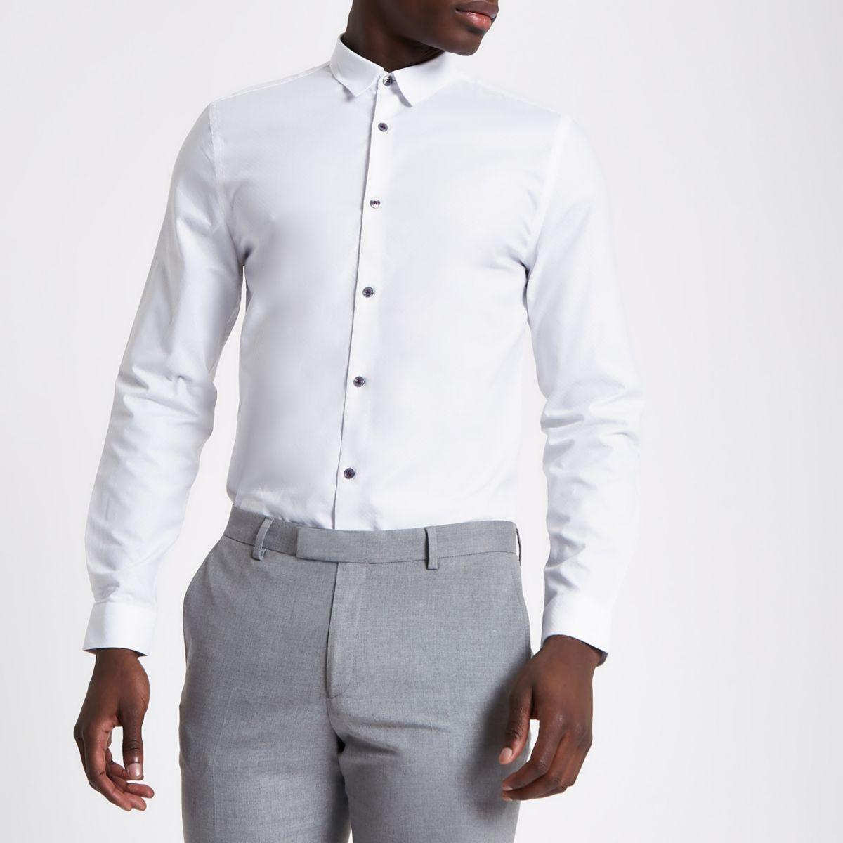White jacquard check slim long sleeve shirt