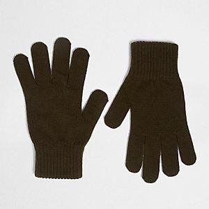 Gestrickte Handschuhe in Khaki