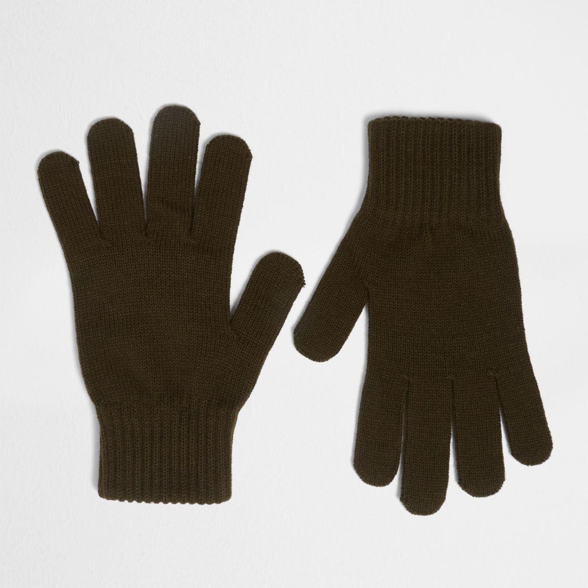 Khaki green knit gloves