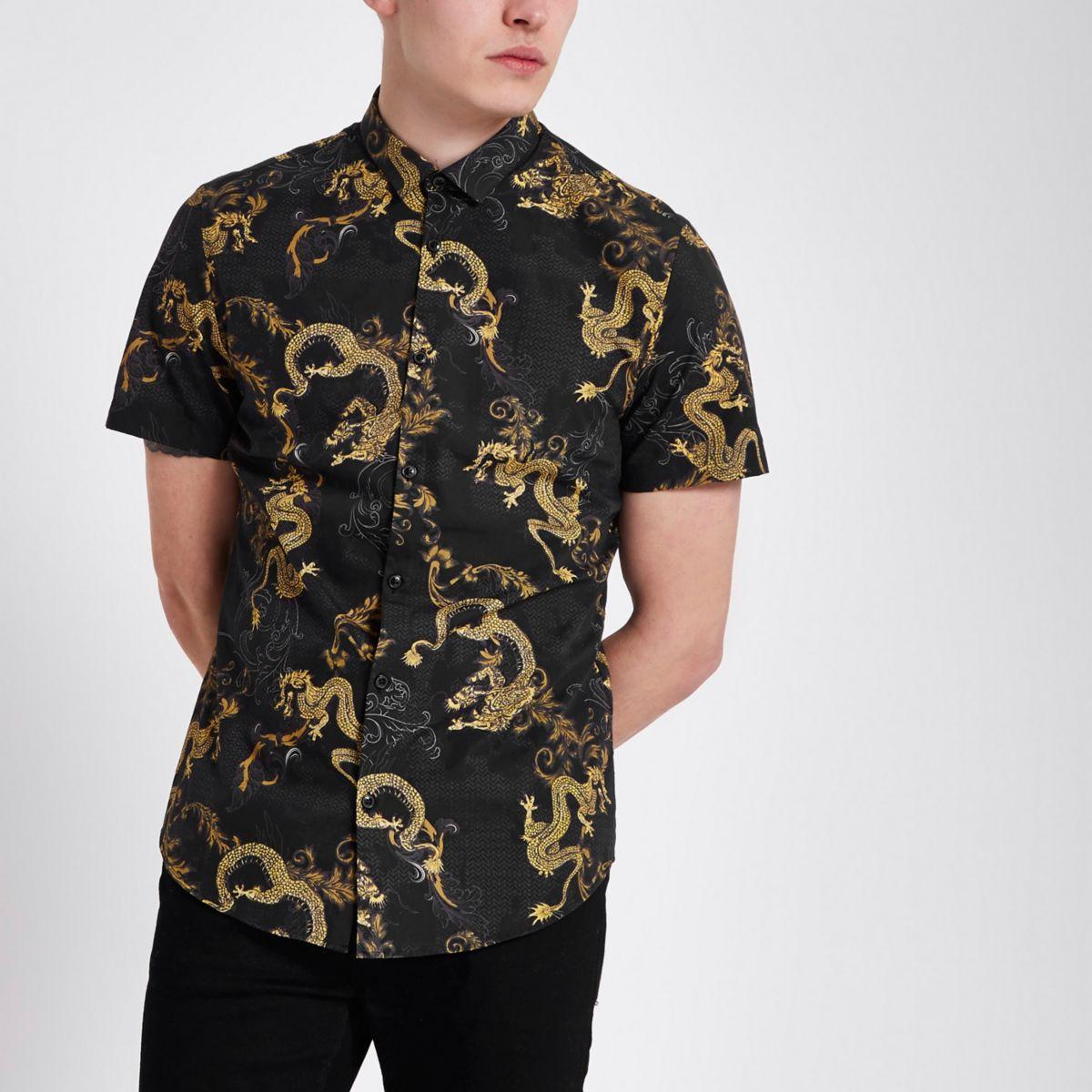 Chemise slim motif géométrique dragon noire à manches courtes