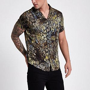 Geel burnout overhemd met korte mouwen en reverskraag