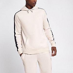 Stone slim fit tape sleeve hoodie