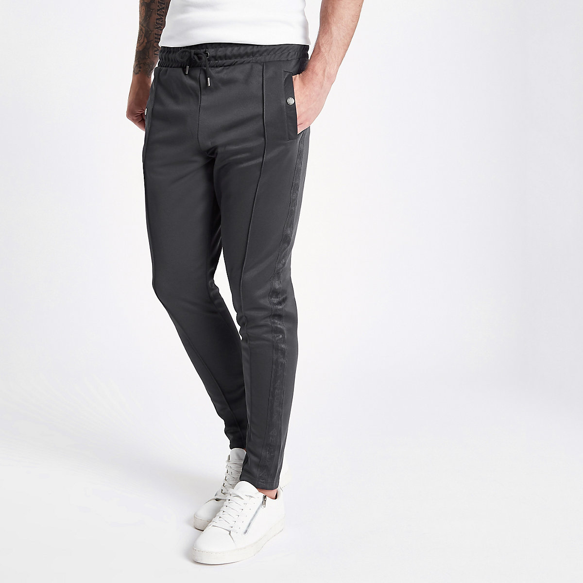 Concept grey tape side slim fit joggers