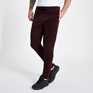 Concept dark red slim fit tracksuit bottoms