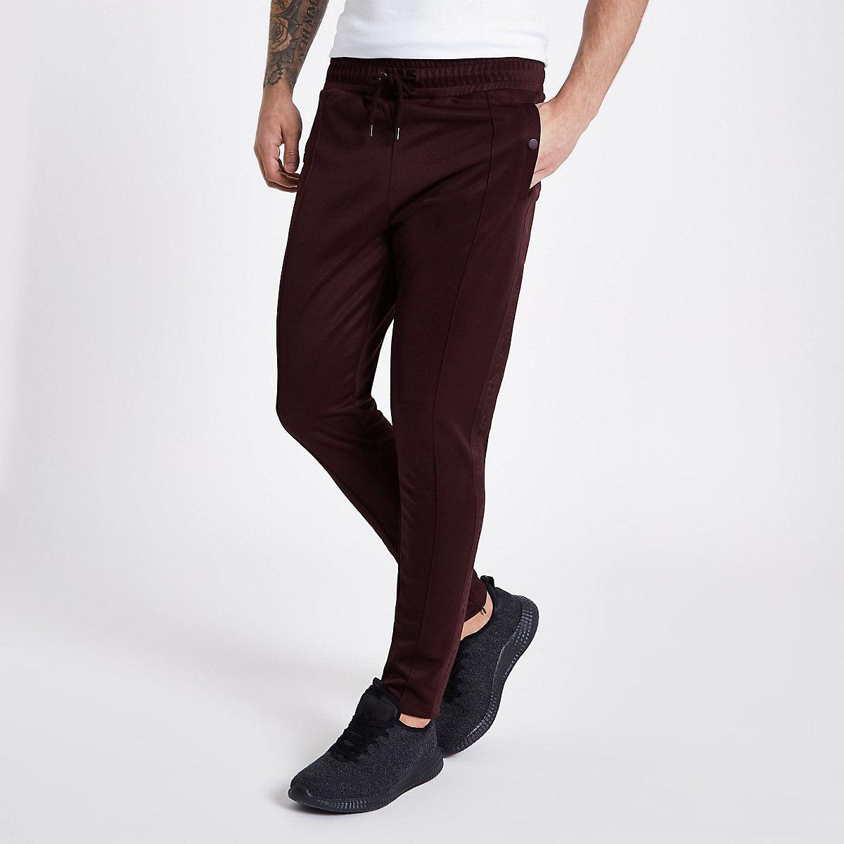Concept dark red slim fit tracksuit bottoms