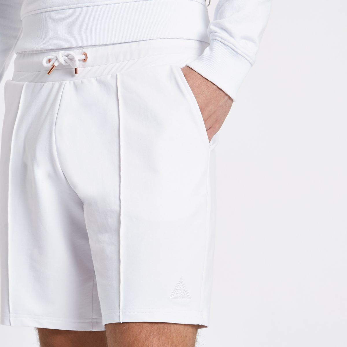 Concept white slim fit jogger shorts