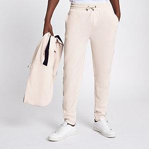 Pantalon de jogging slim grège avec bande latérale