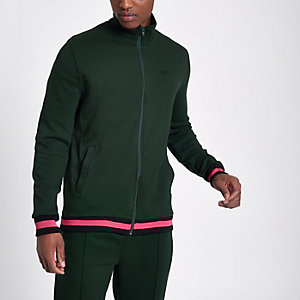 Green funnel neck slim fit track jacket