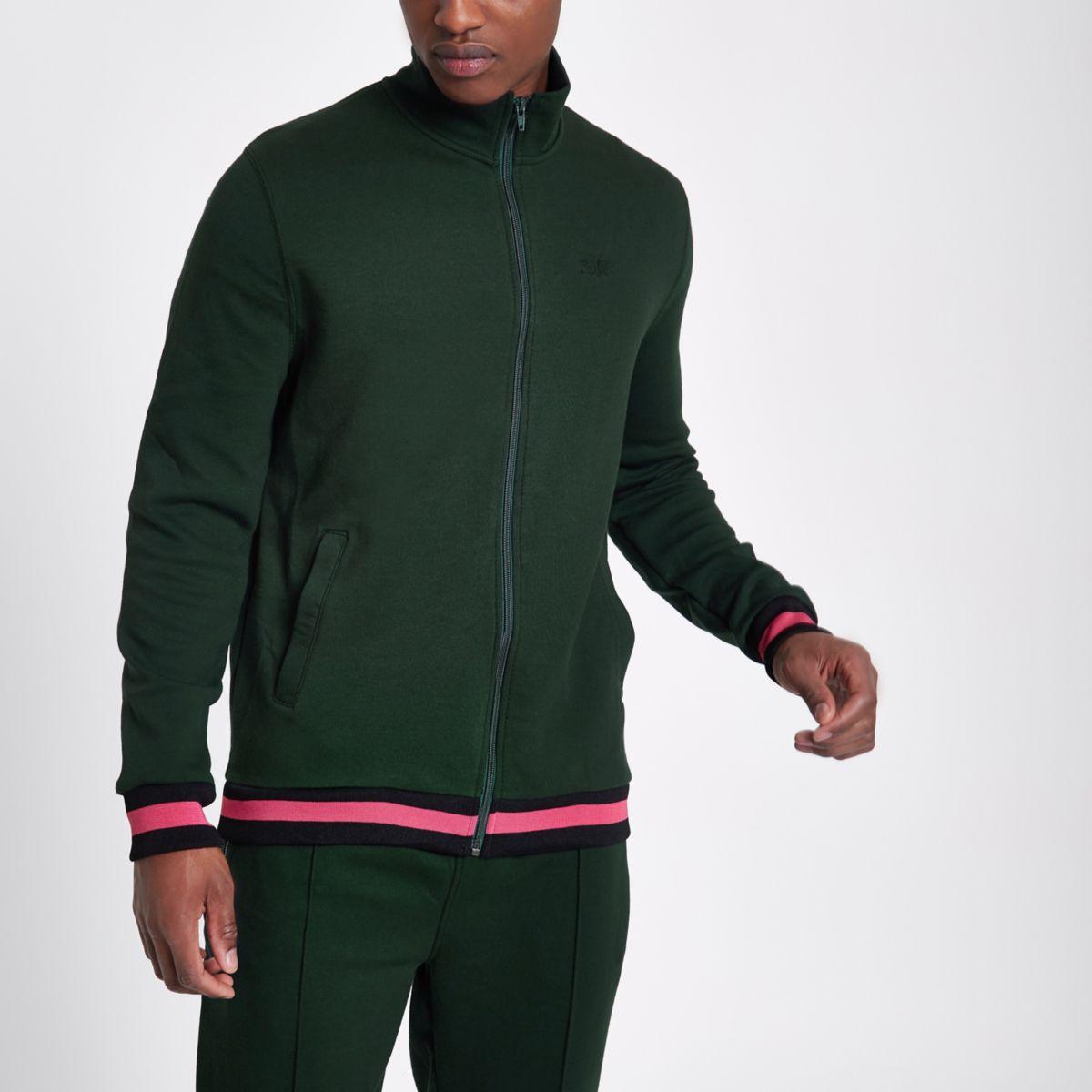 Green funnel neck slim fit track jacket