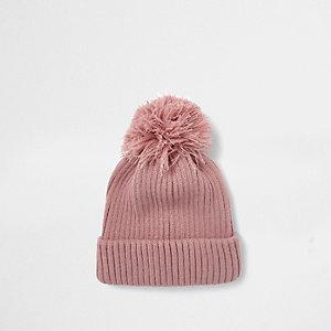 Pink bobble pom pom beanie hat
