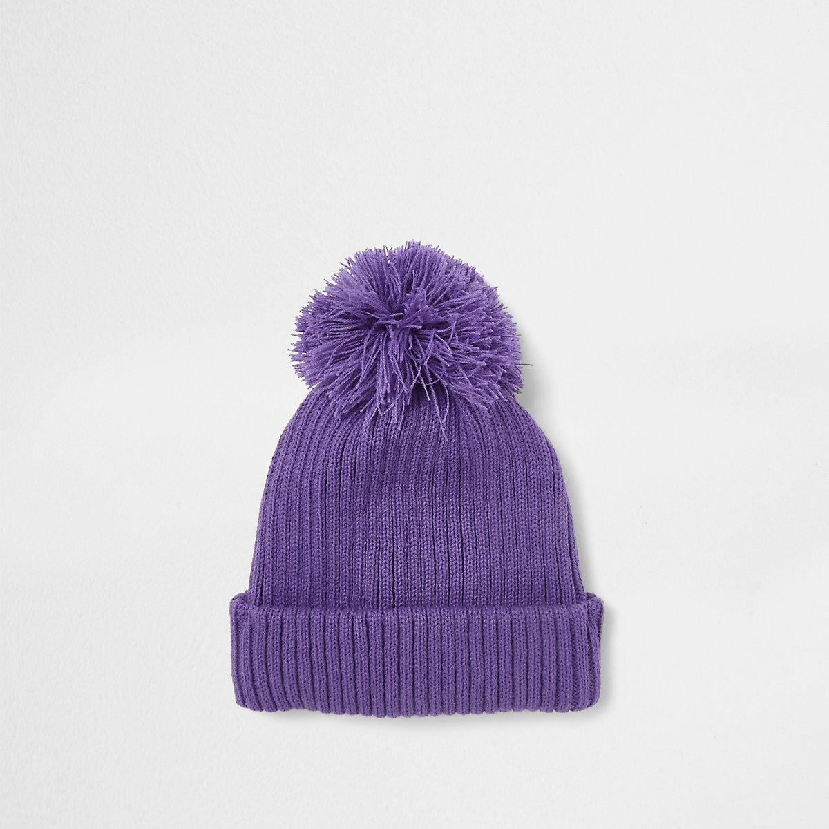 Purple bobble pom pom beanie hat